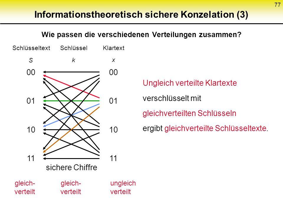 76 Bsp.: Vernam-Chiffre mod 2 x= 00 01 00 10 k= 10 11 01 00 S= 10 10 01 10 Subtraktion von einem Schlüsselbit mod 4 von zwei Klartextbits 00 01 10 11