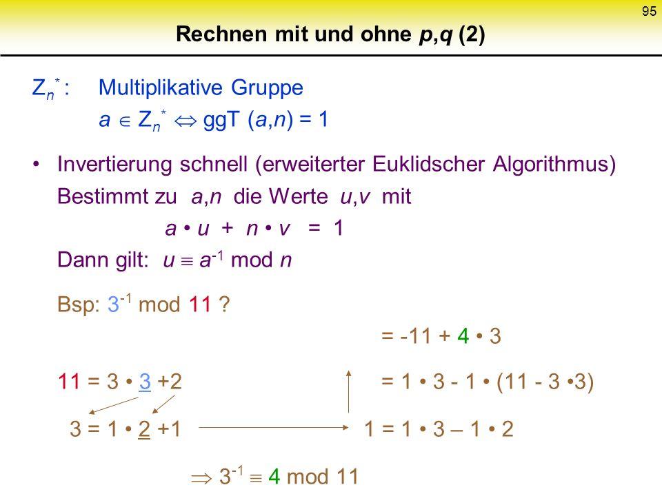 94 Z n : Restklassenring mod n = {0,..., n-1} +, -, schnell Exponentiation schnell (square & multiply) Bsp:; von links 7 1 7 10 7 110 7 1100 7 11010 7