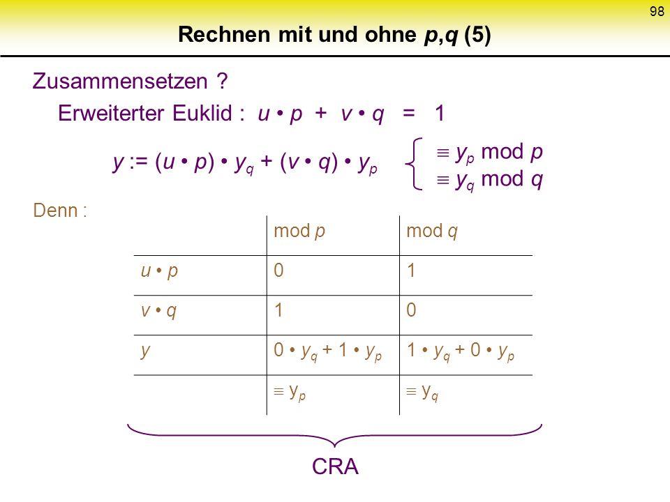 97 Rechnen mit und ohne p,q (4) Zusammenhang Z n Z p, Z q : Chinesischer Restsatz x y mod n x y mod p x y mod q denn n|(x-y) p|(x-y) q|(x-y) n = p q,