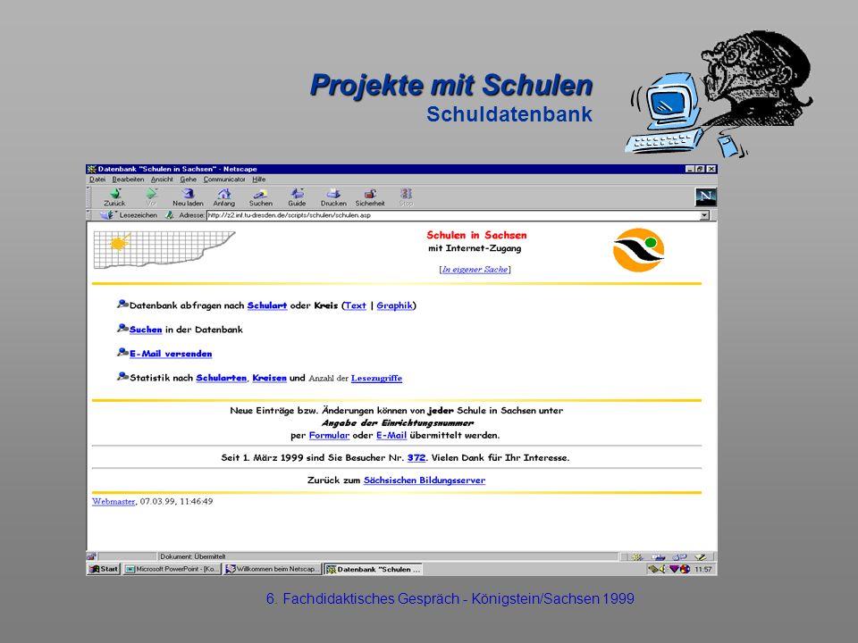 Projekte mit Schulen Projekte mit Schulen Schuldatenbank 6. Fachdidaktisches Gespräch - Königstein/Sachsen 1999