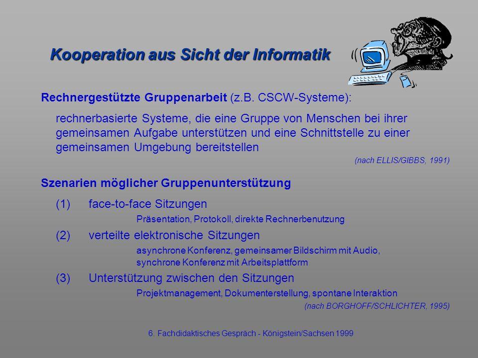 Kooperation aus Sicht der Informatik Rechnergestützte Gruppenarbeit (z.B. CSCW-Systeme): rechnerbasierte Systeme, die eine Gruppe von Menschen bei ihr