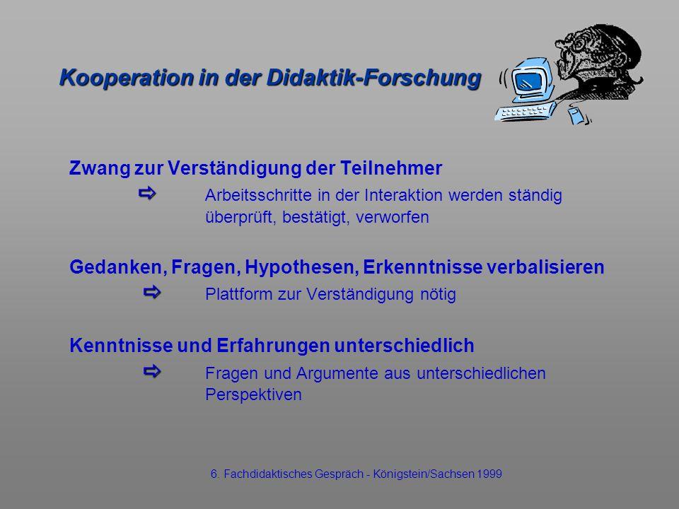 Kooperation in der Didaktik-Forschung Zwang zur Verständigung der Teilnehmer Arbeitsschritte in der Interaktion werden ständig überprüft, bestätigt, v