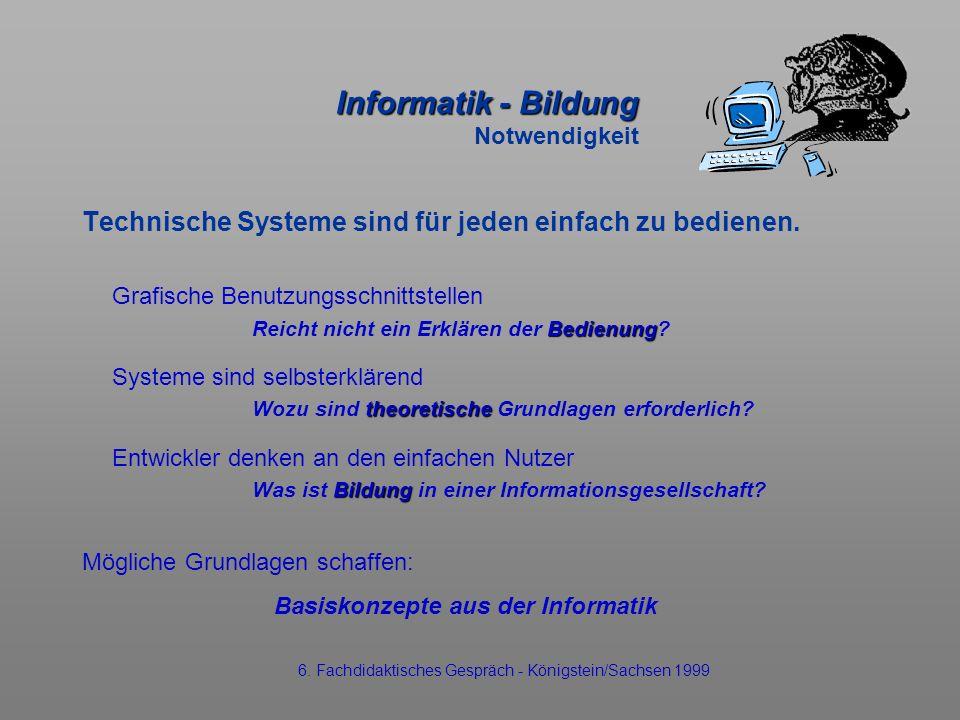 Informatik - Bildung Informatik - Bildung Notwendigkeit Technische Systeme sind für jeden einfach zu bedienen. Grafische Benutzungsschnittstellen Bedi