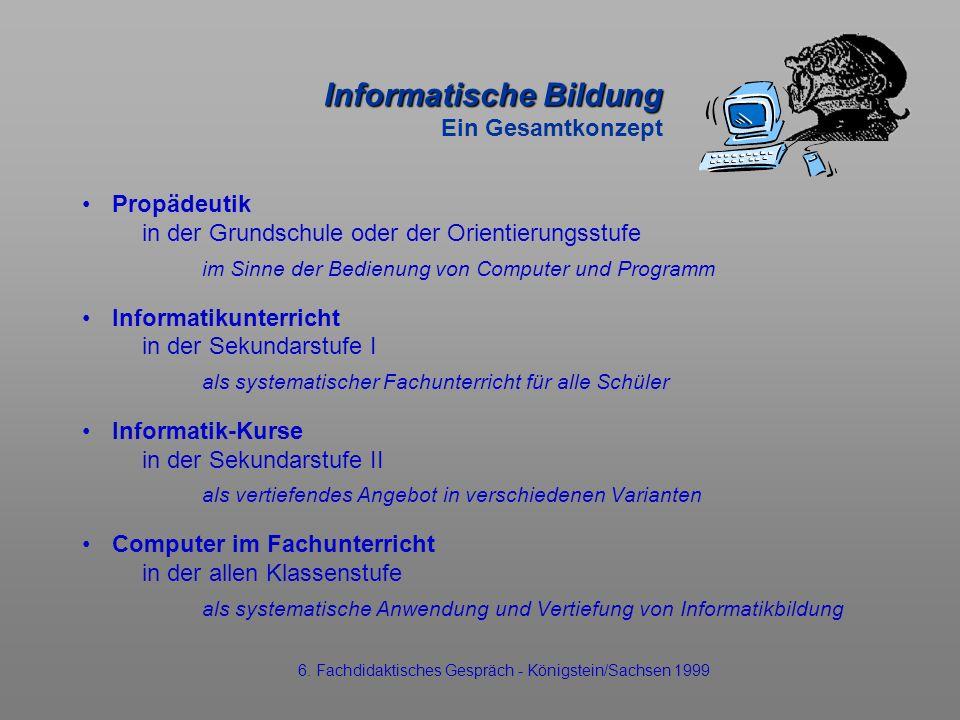 Informatische Bildung Informatische Bildung Ein Gesamtkonzept Propädeutik in der Grundschule oder der Orientierungsstufe im Sinne der Bedienung von Co
