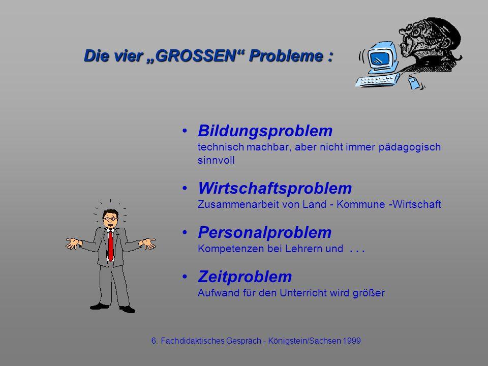 Die vier GROSSEN Probleme : Bildungsproblem technisch machbar, aber nicht immer pädagogisch sinnvoll Wirtschaftsproblem Zusammenarbeit von Land - Komm