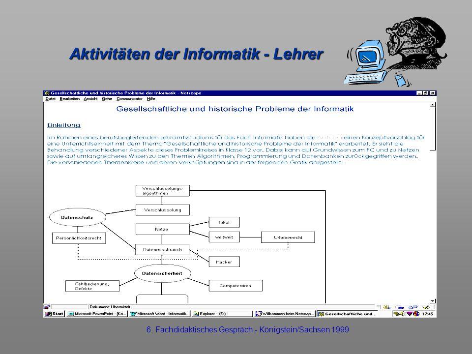 Aktivitäten der Informatik - Lehrer 6. Fachdidaktisches Gespräch - Königstein/Sachsen 1999