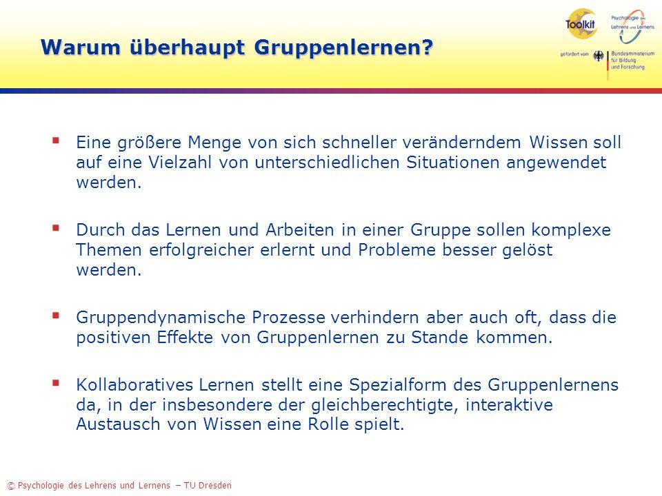 © Psychologie des Lehrens und Lernens – TU Dresden Warum überhaupt Gruppenlernen? Eine größere Menge von sich schneller veränderndem Wissen soll auf e
