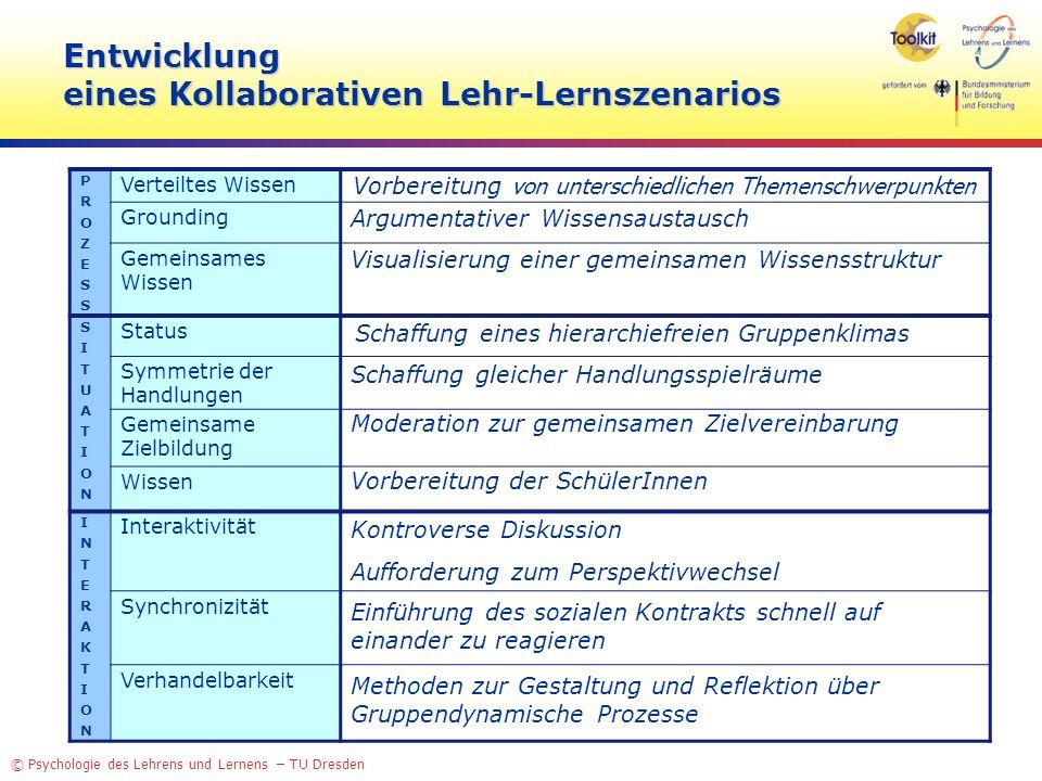 © Psychologie des Lehrens und Lernens – TU Dresden Entwicklung eines Kollaborativen Lehr-Lernszenarios PROZESSPROZESS Verteiltes Wissen Grounding Geme