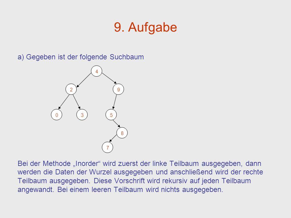 9. Aufgabe a) Gegeben ist der folgende Suchbaum Bei der Methode Inorder wird zuerst der linke Teilbaum ausgegeben, dann werden die Daten der Wurzel au