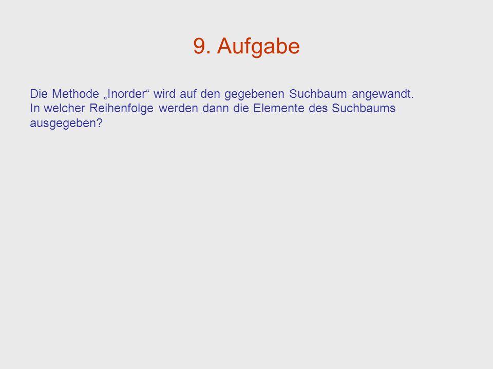 9. Aufgabe Die Methode Inorder wird auf den gegebenen Suchbaum angewandt. In welcher Reihenfolge werden dann die Elemente des Suchbaums ausgegeben?