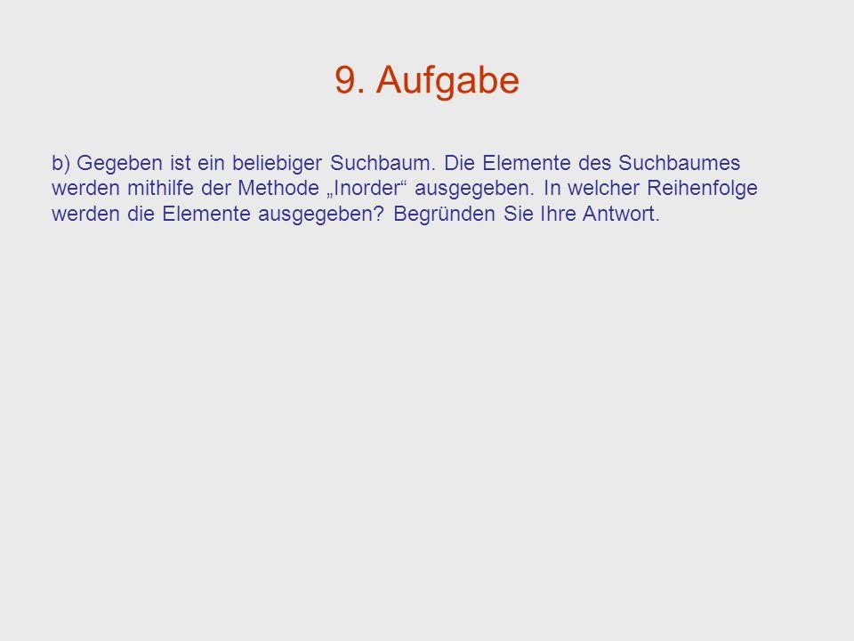 9.Aufgabe b) Gegeben ist ein beliebiger Suchbaum.