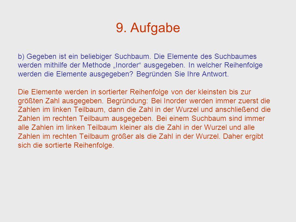 9. Aufgabe b) Gegeben ist ein beliebiger Suchbaum. Die Elemente des Suchbaumes werden mithilfe der Methode Inorder ausgegeben. In welcher Reihenfolge