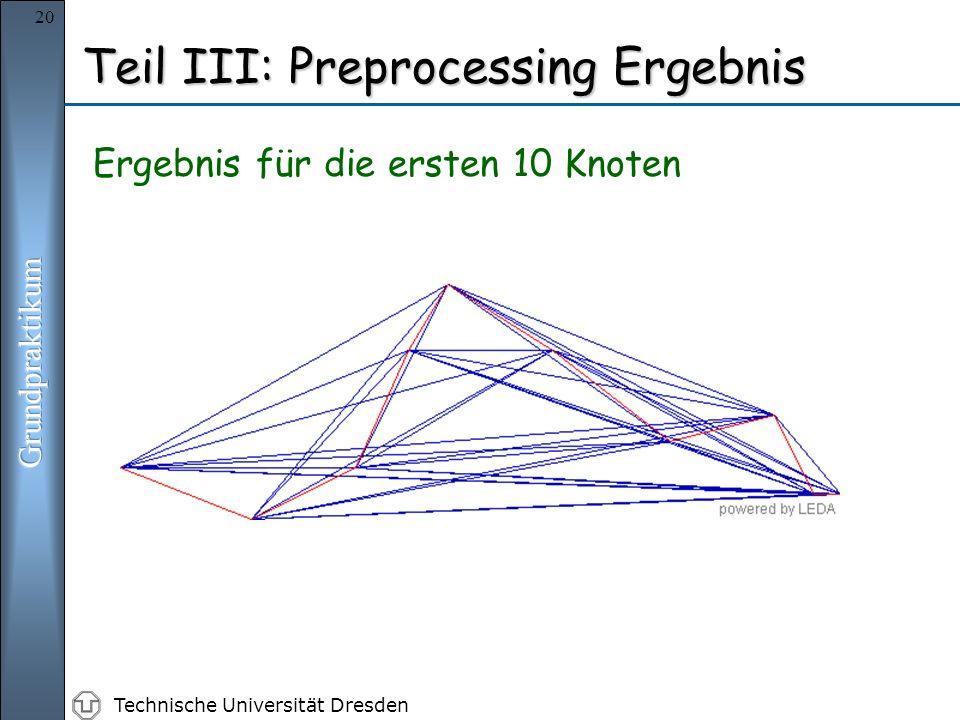 Technische Universität Dresden 20 Teil III: Preprocessing Ergebnis Ergebnis für die ersten 10 Knoten