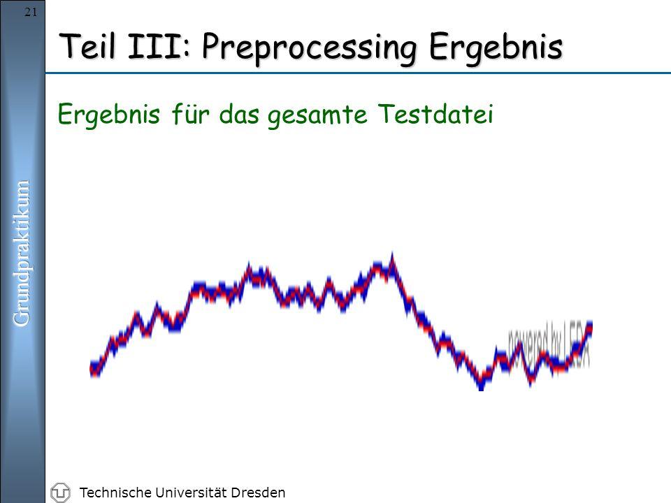 Technische Universität Dresden 21 Teil III: Preprocessing Ergebnis Ergebnis für das gesamte Testdatei