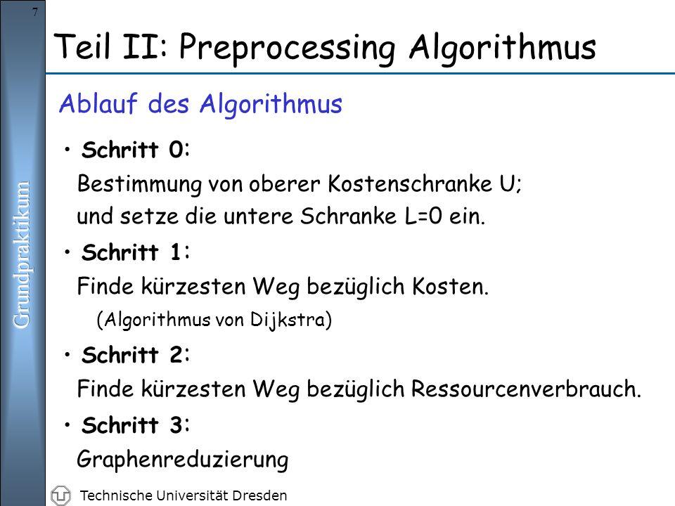 Technische Universität Dresden 7 Teil II: Preprocessing Algorithmus Ablauf des Algorithmus Schritt 0 : Bestimmung von oberer Kostenschranke U; und setze die untere Schranke L=0 ein.