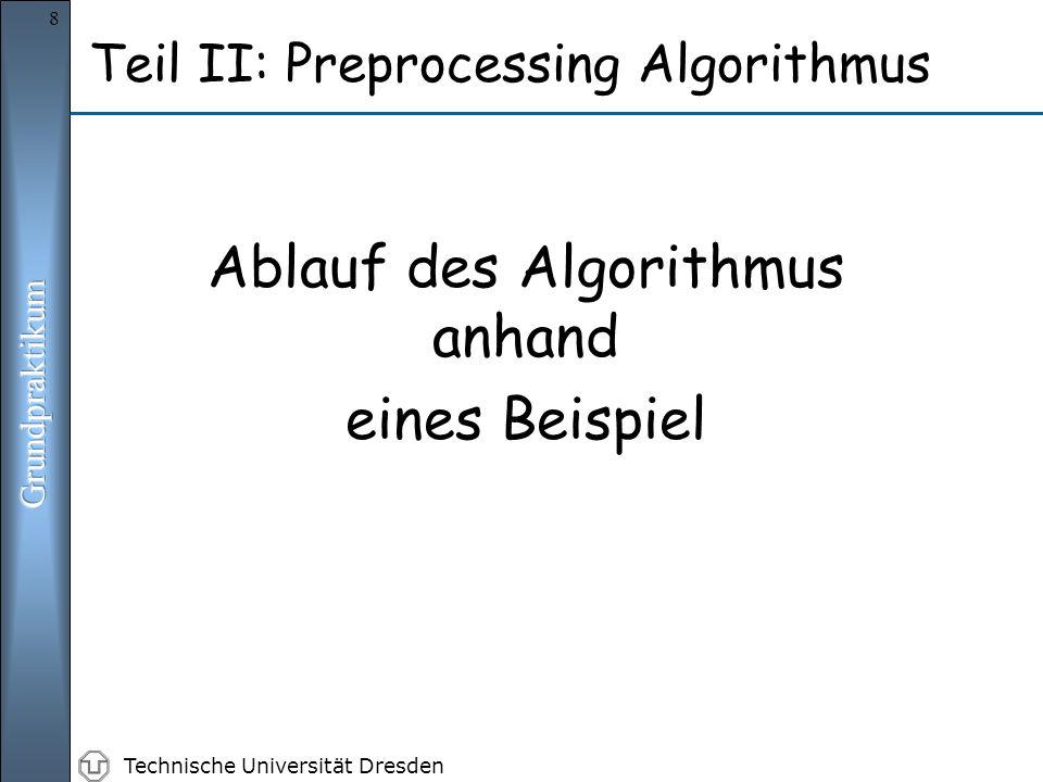 Technische Universität Dresden 8 Ablauf des Algorithmus anhand eines Beispiel Teil II: Preprocessing Algorithmus