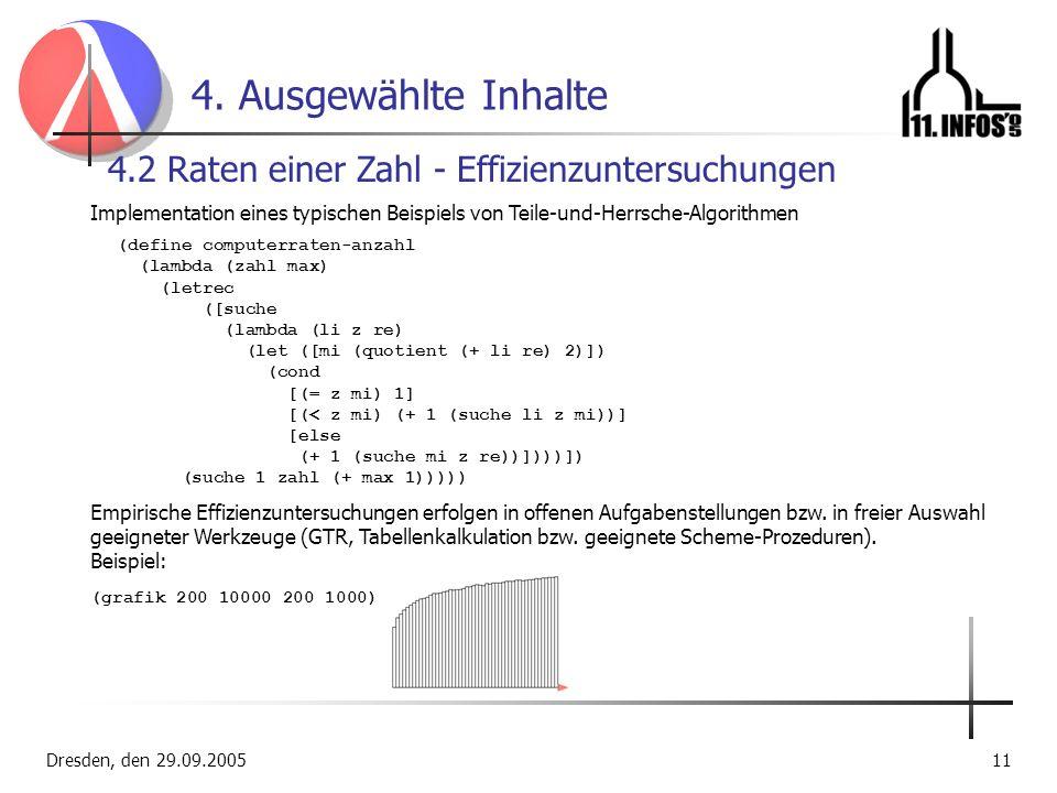 Dresden, den 29.09.200511 4. Ausgewählte Inhalte 4.2 Raten einer Zahl - Effizienzuntersuchungen Implementation eines typischen Beispiels von Teile-und