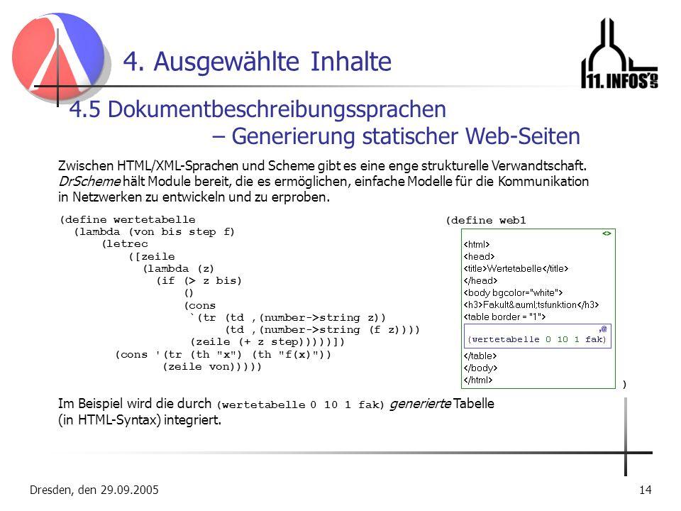 Dresden, den 29.09.200514 4. Ausgewählte Inhalte 4.5 Dokumentbeschreibungssprachen – Generierung statischer Web-Seiten Zwischen HTML/XML-Sprachen und