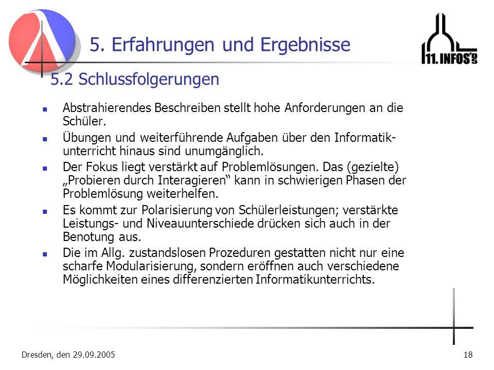 Dresden, den 29.09.200518 5. Erfahrungen und Ergebnisse Abstrahierendes Beschreiben stellt hohe Anforderungen an die Schüler. Übungen und weiterführen