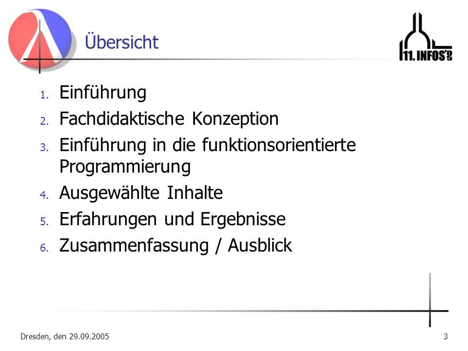 Dresden, den 29.09.20053 Übersicht 1. Einführung 2. Fachdidaktische Konzeption 3. Einführung in die funktionsorientierte Programmierung 4. Ausgewählte