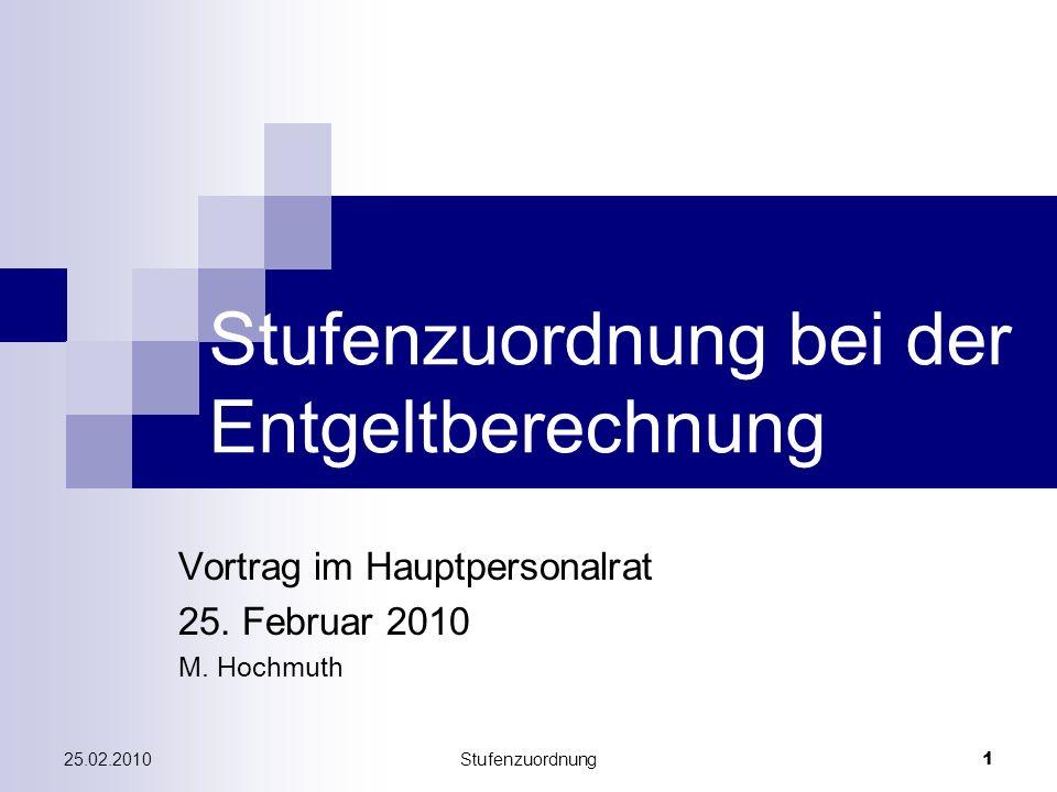 25.02.2010Stufenzuordnung 1 Stufenzuordnung bei der Entgeltberechnung Vortrag im Hauptpersonalrat 25. Februar 2010 M. Hochmuth