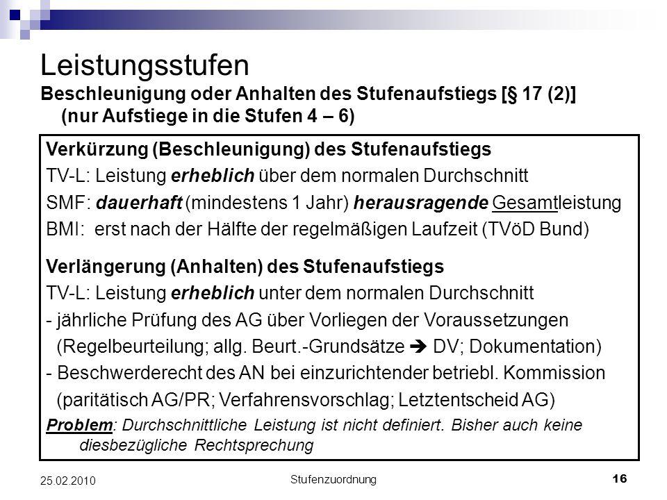 Stufenzuordnung16 25.02.2010 Leistungsstufen Beschleunigung oder Anhalten des Stufenaufstiegs [§ 17 (2)] (nur Aufstiege in die Stufen 4 – 6) Verkürzung (Beschleunigung) des Stufenaufstiegs TV-L: Leistung erheblich über dem normalen Durchschnitt SMF: dauerhaft (mindestens 1 Jahr) herausragende Gesamtleistung BMI: erst nach der Hälfte der regelmäßigen Laufzeit (TVöD Bund) Verlängerung (Anhalten) des Stufenaufstiegs TV-L: Leistung erheblich unter dem normalen Durchschnitt - jährliche Prüfung des AG über Vorliegen der Voraussetzungen (Regelbeurteilung; allg.