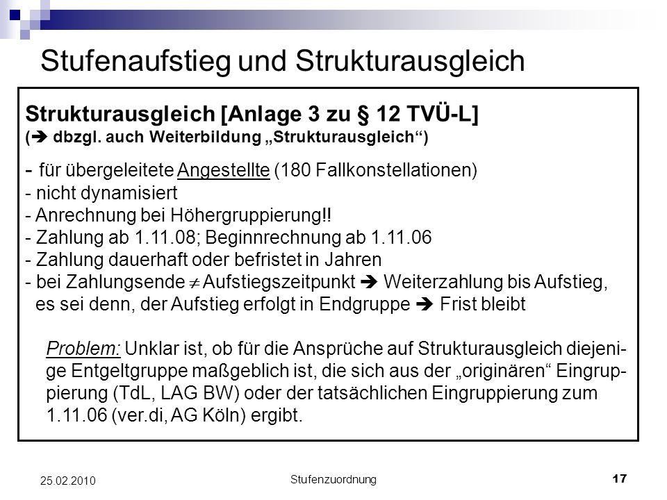 Stufenzuordnung17 25.02.2010 Stufenaufstieg und Strukturausgleich Strukturausgleich [Anlage 3 zu § 12 TVÜ-L] ( dbzgl.