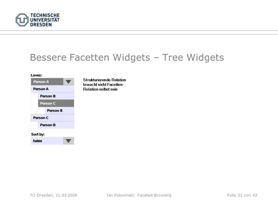 Bessere Facetten Widgets – Tree Widgets TU Dresden, 11.03.2009Jan Polowinski: Faceted Browsing Strukturierende Relation braucht nicht Facetten- Relation selbst sein Folie 21 von 43