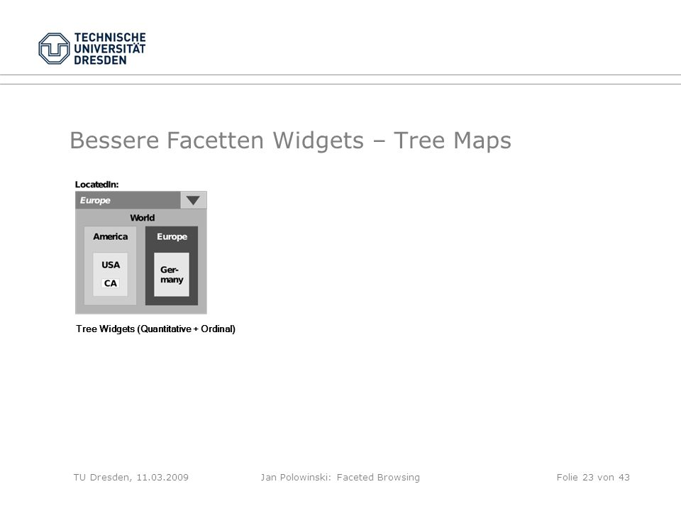 Bessere Facetten Widgets – Tree Maps TU Dresden, 11.03.2009Jan Polowinski: Faceted Browsing Tree Widgets (Quantitative + Ordinal) Folie 23 von 43