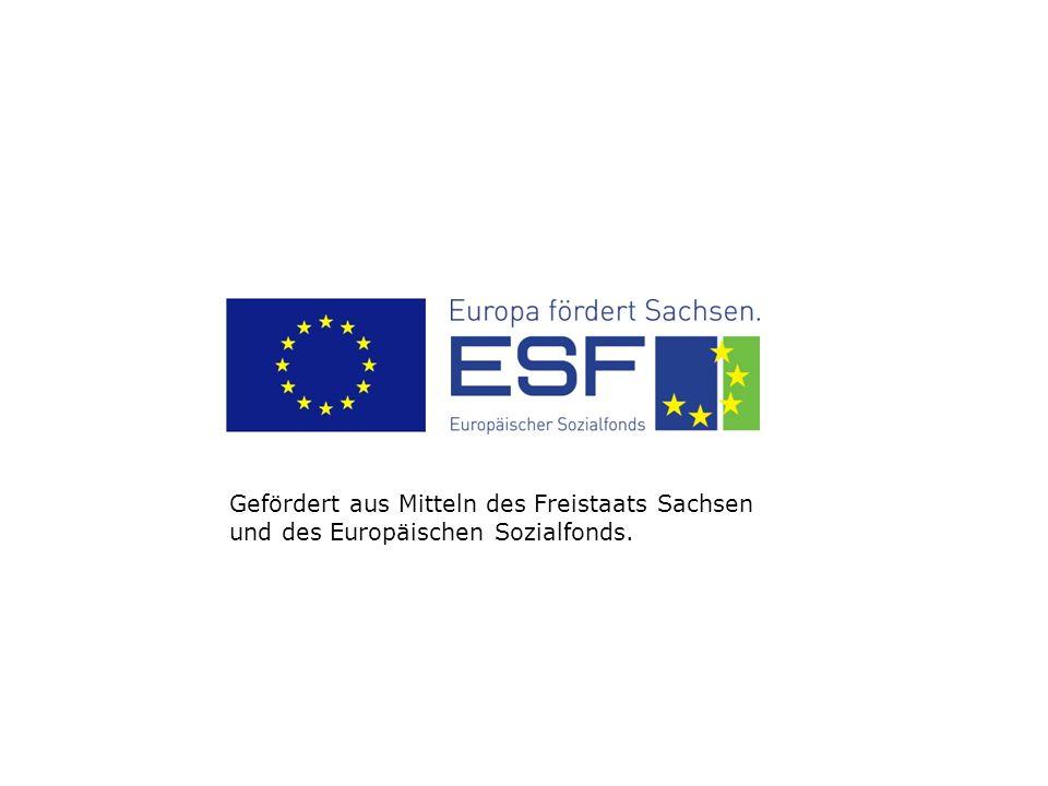 Gefördert aus Mitteln des Freistaats Sachsen und des Europäischen Sozialfonds.