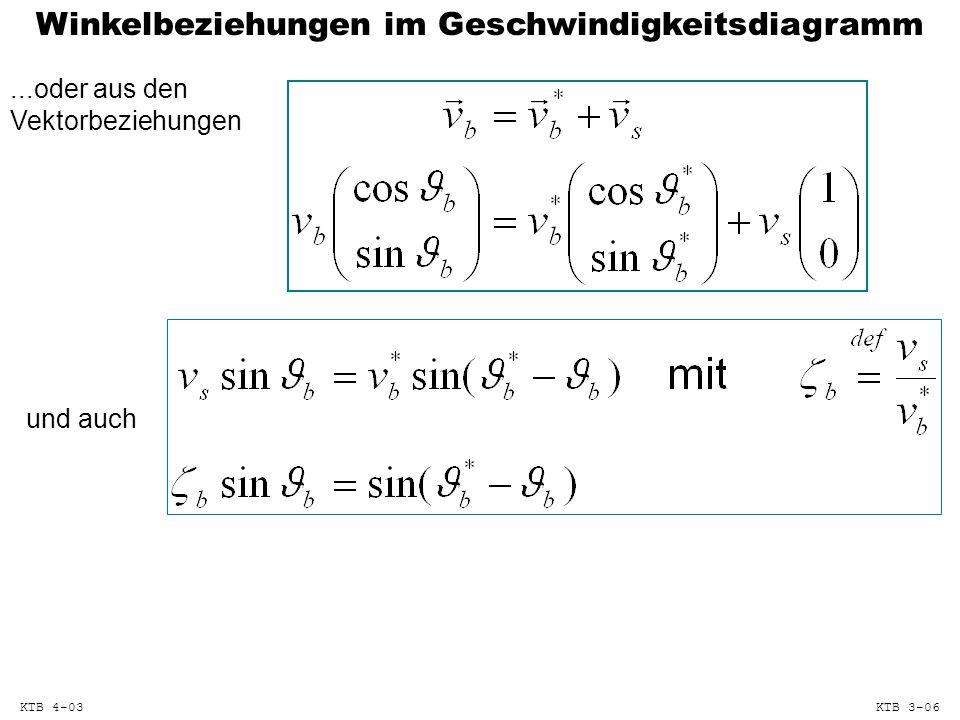 Winkelbeziehungen im Geschwindigkeitsdiagramm...oder aus den Vektorbeziehungen und auch KTB 4-03KTB 3-06
