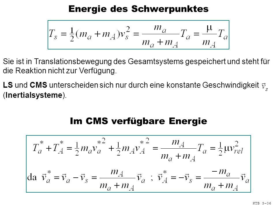 Energie des Schwerpunktes Sie ist in Translationsbewegung des Gesamtsystems gespeichert und steht für die Reaktion nicht zur Verfügung.