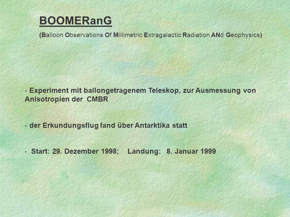 BOOMERanG (Balloon Observations Of Millimetric Extragalactic Radiation ANd Geophysics) - Experiment mit ballongetragenem Teleskop, zur Ausmessung von