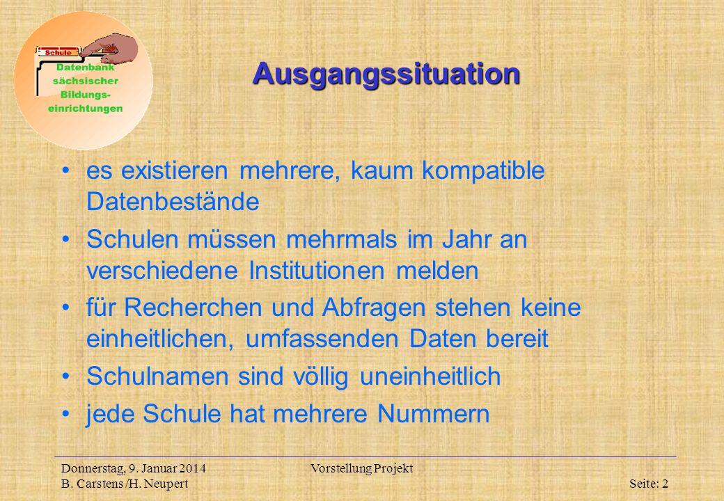 Donnerstag, 9. Januar 2014 B. Carstens /H.