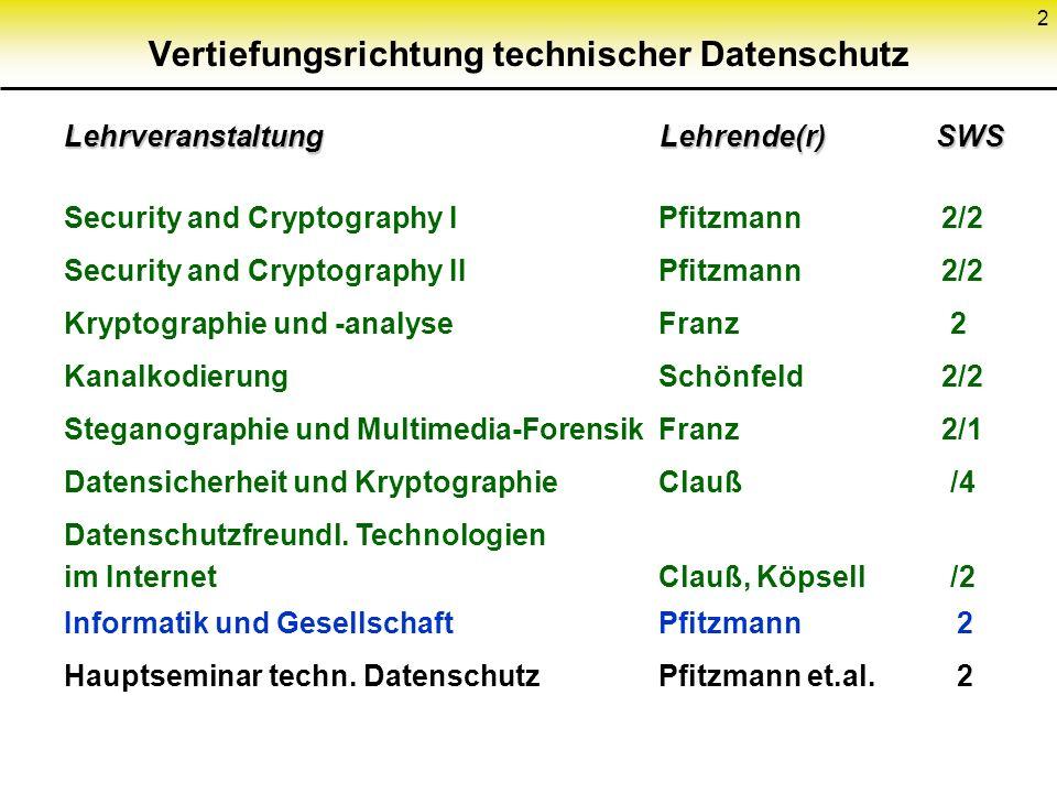 2 Vertiefungsrichtung technischer Datenschutz Lehrveranstaltung Lehrende(r) SWS Security and Cryptography IPfitzmann 2/2 Security and Cryptography II