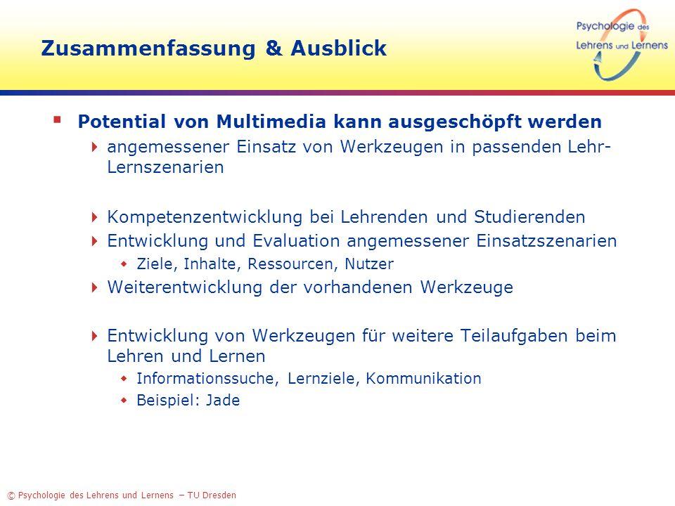 © Psychologie des Lehrens und Lernens – TU Dresden Zusammenfassung & Ausblick Potential von Multimedia kann ausgeschöpft werden angemessener Einsatz v
