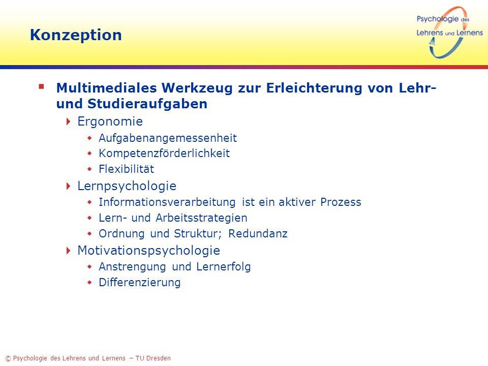 © Psychologie des Lehrens und Lernens – TU Dresden Konzeption Multimediales Werkzeug zur Erleichterung von Lehr- und Studieraufgaben Ergonomie Aufgabe
