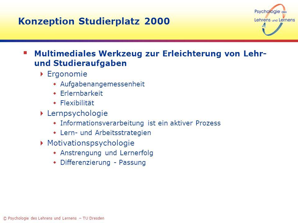 © Psychologie des Lehrens und Lernens – TU Dresden Konzeption Studierplatz 2000 Multimediales Werkzeug zur Erleichterung von Lehr- und Studieraufgaben