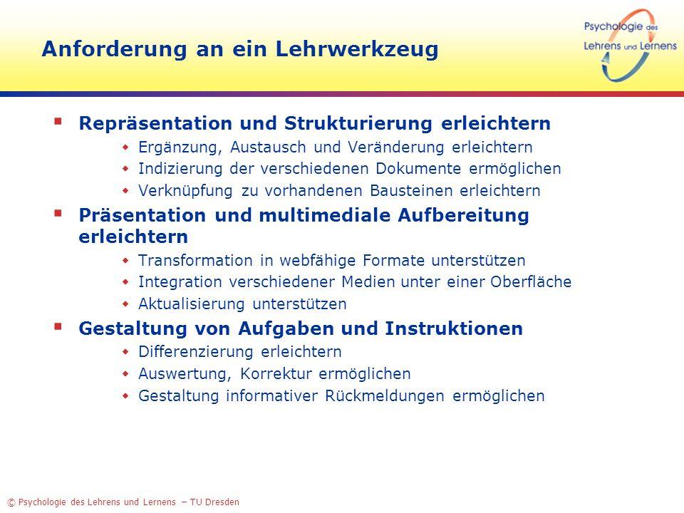 © Psychologie des Lehrens und Lernens – TU Dresden Anforderung an ein Lehrwerkzeug Repräsentation und Strukturierung erleichtern Ergänzung, Austausch