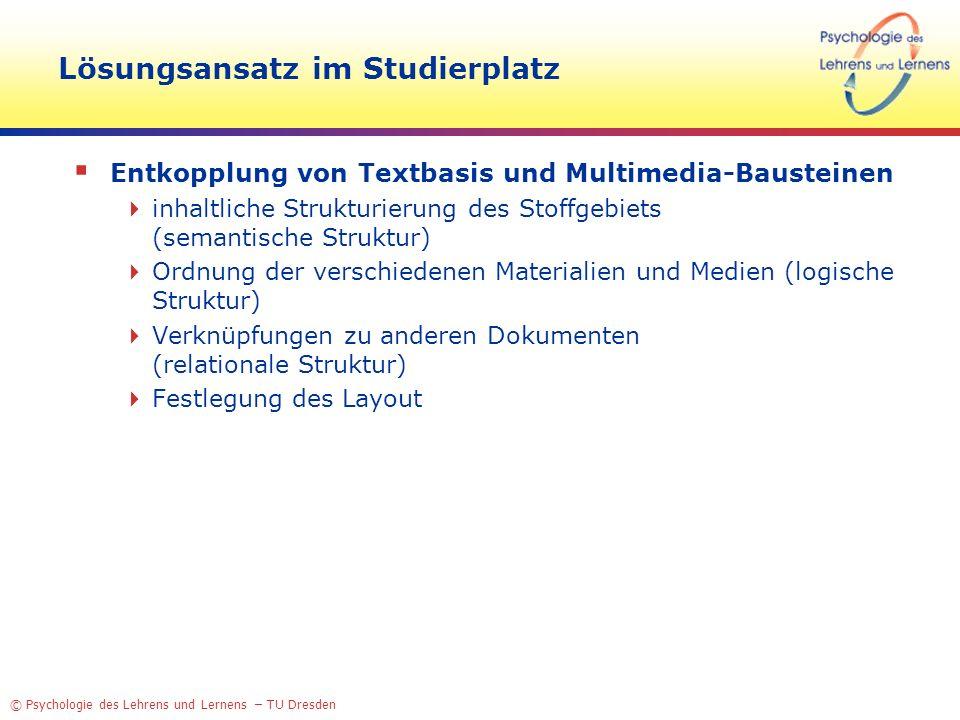 © Psychologie des Lehrens und Lernens – TU Dresden Lösungsansatz im Studierplatz Entkopplung von Textbasis und Multimedia-Bausteinen inhaltliche Struk