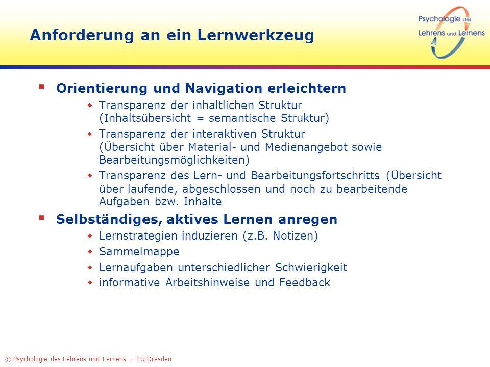 © Psychologie des Lehrens und Lernens – TU Dresden Anforderung an ein Lernwerkzeug Orientierung und Navigation erleichtern Transparenz der inhaltliche