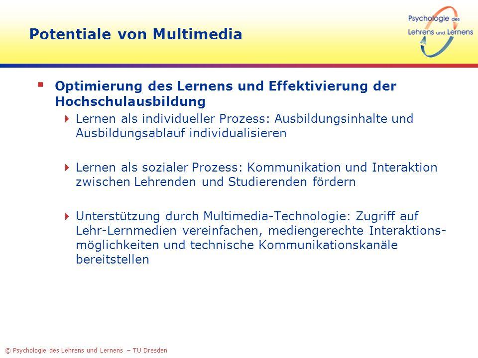 © Psychologie des Lehrens und Lernens – TU Dresden Potentiale von Multimedia Optimierung des Lernens und Effektivierung der Hochschulausbildung Lernen