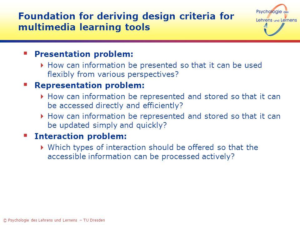 © Psychologie des Lehrens und Lernens – TU Dresden Foundation for deriving design criteria for multimedia learning tools Presentation problem: How can