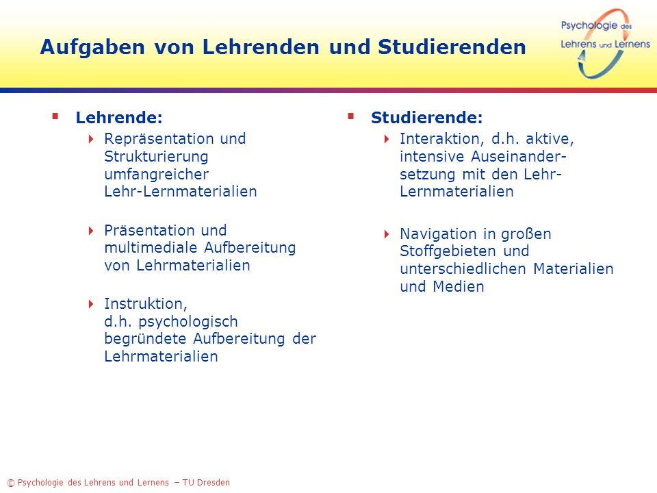 © Psychologie des Lehrens und Lernens – TU Dresden Aufgaben von Lehrenden und Studierenden Lehrende: Repräsentation und Strukturierung umfangreicher L