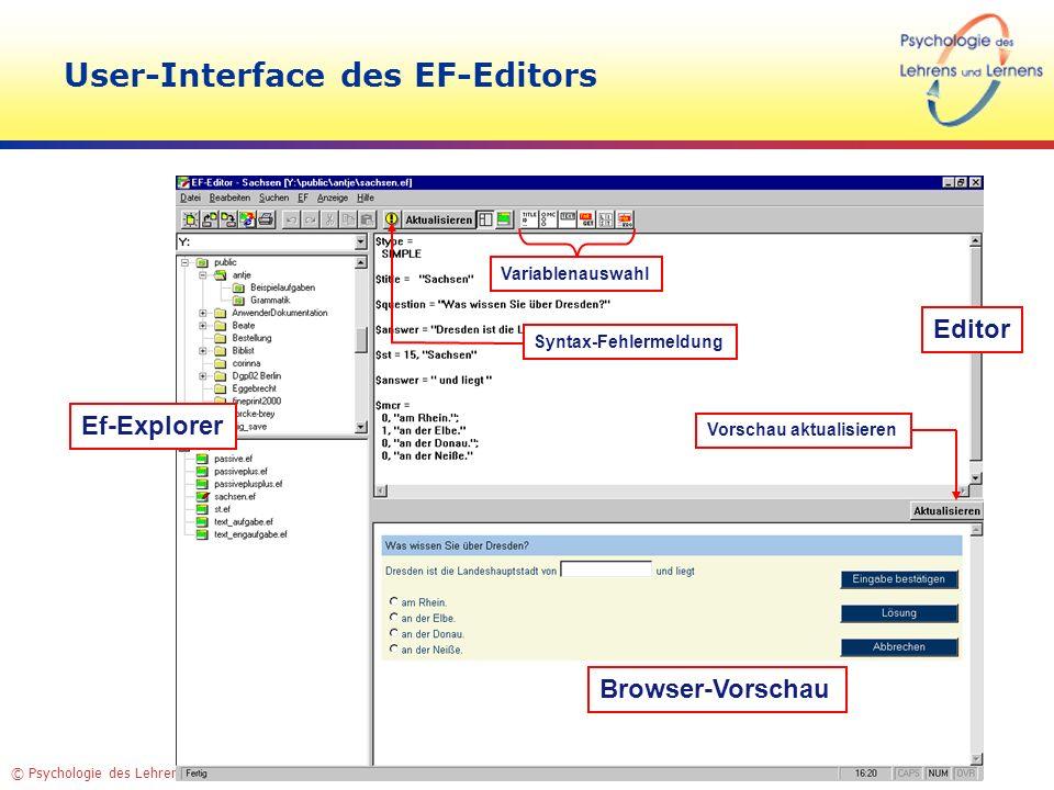 © Psychologie des Lehrens und Lernens – TU Dresden User-Interface des EF-Editors Editor Browser-Vorschau Ef-Explorer Variablenauswahl Vorschau aktuali
