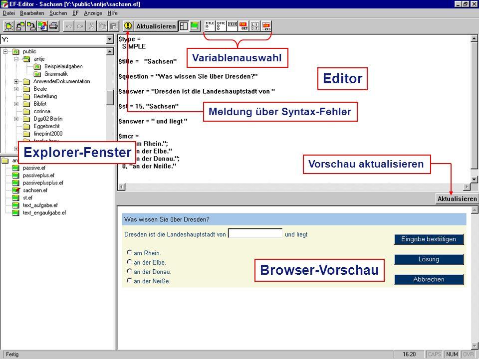 © Psychologie des Lehrens und Lernens – TU Dresden Editor Browser-Vorschau Explorer-Fenster Variablenauswahl Vorschau aktualisieren Meldung über Synta