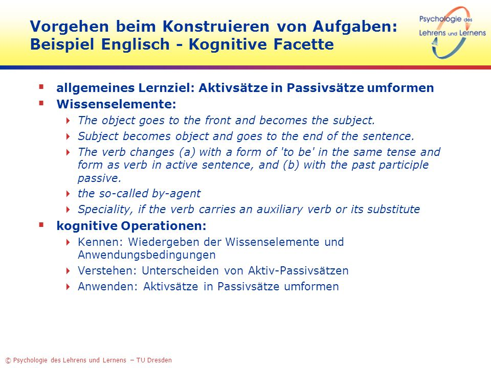 © Psychologie des Lehrens und Lernens – TU Dresden Vorgehen beim Konstruieren von Aufgaben: Beispiel Englisch - Kognitive Facette allgemeines Lernziel