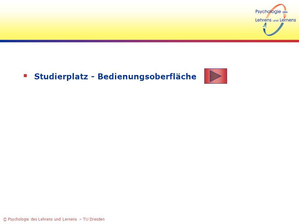 © Psychologie des Lehrens und Lernens – TU Dresden Studierplatz - Bedienungsoberfläche