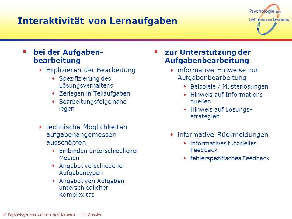 © Psychologie des Lehrens und Lernens – TU Dresden Interaktivität von Lernaufgaben bei der Aufgaben- bearbeitung Explizieren der Bearbeitung Spezifizi