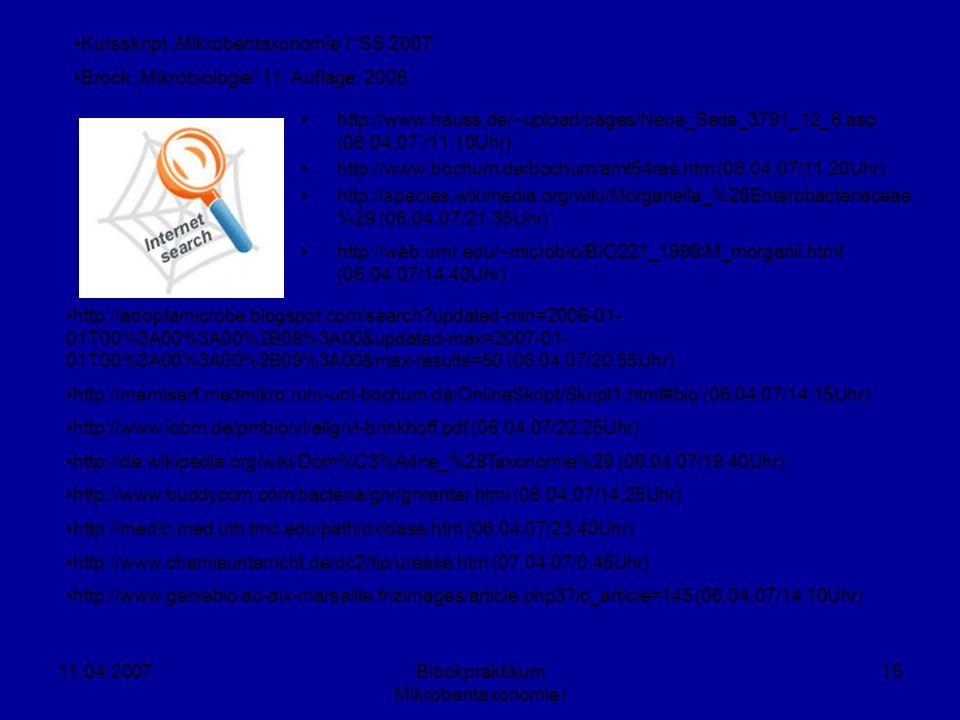 11.04.2007Blockpraktikum Mikrobentaxonomie I 15 http://www.hauss.de/~upload/pages/Neue_Seite_3791_12_6.asp (06.04.07 /11.10Uhr) http://www.bochum.de/b